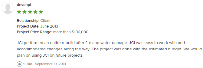 Review of JCI - renovation / rebuild