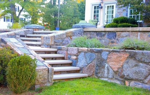 Landscape masonry stone walls and steps