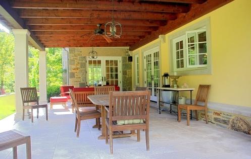 Custom stone patio with pillars